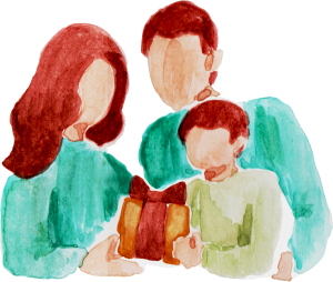 Canva - Handpainted Watercolor Family Giving Gifts on Christmas